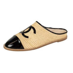 Chanel Patent Leather Logo Espadrille Round Toe Beige Mules