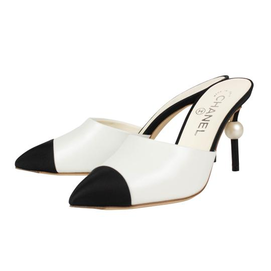 Chanel Goatskin Leather Pointed Toe Pearl White And Black Mules Image 1