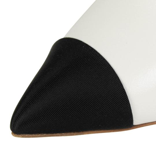 Chanel Goatskin Leather Pointed Toe Pearl White And Black Mules Image 4