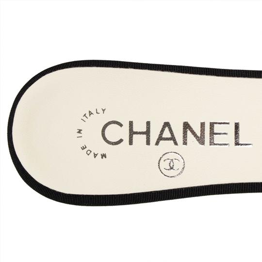 Chanel Goatskin Leather Pointed Toe Pearl White And Black Mules Image 6