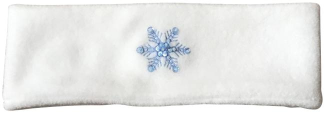 Unbranded White W/Blue Snowflake Winter Headband Hat Unbranded White W/Blue Snowflake Winter Headband Hat Image 1