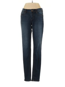 White House | Black Market Whiskering Low Rise Mid Rise Skinny Jeans-Dark Rinse