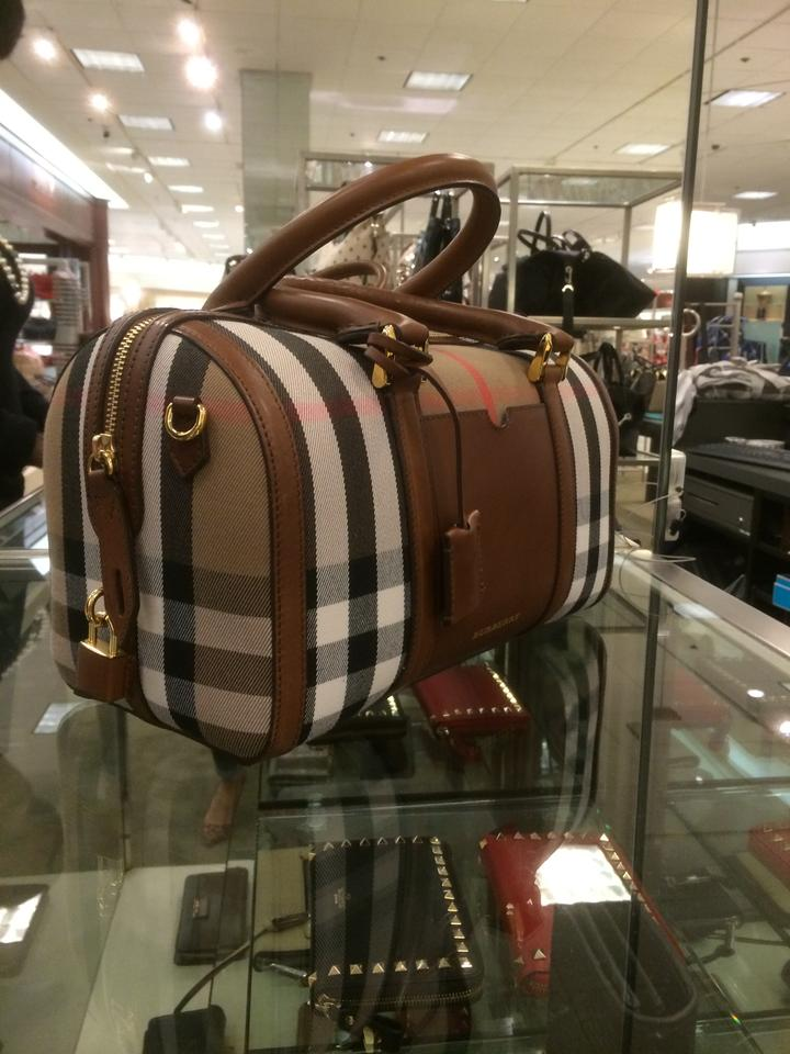 4173e0532903 Burberry Medium Bowling Brown Ochre House Deck Cotton Canvas with ...