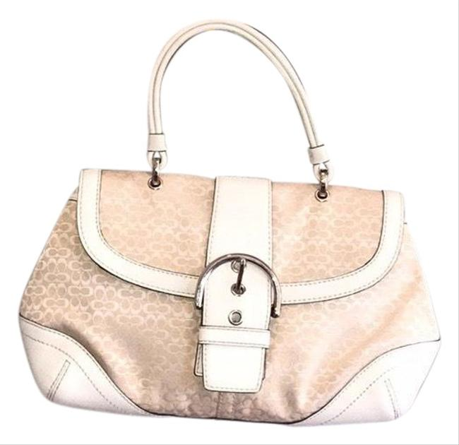 Item - With Canvas White and Beige Leather Baguette