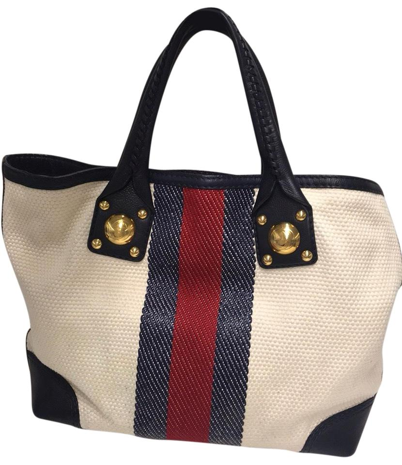 c2012a9c9 Gucci Sunset Vintage Off-white with Blue and Red Strip Leather Straps  Canvas Raffia Tote