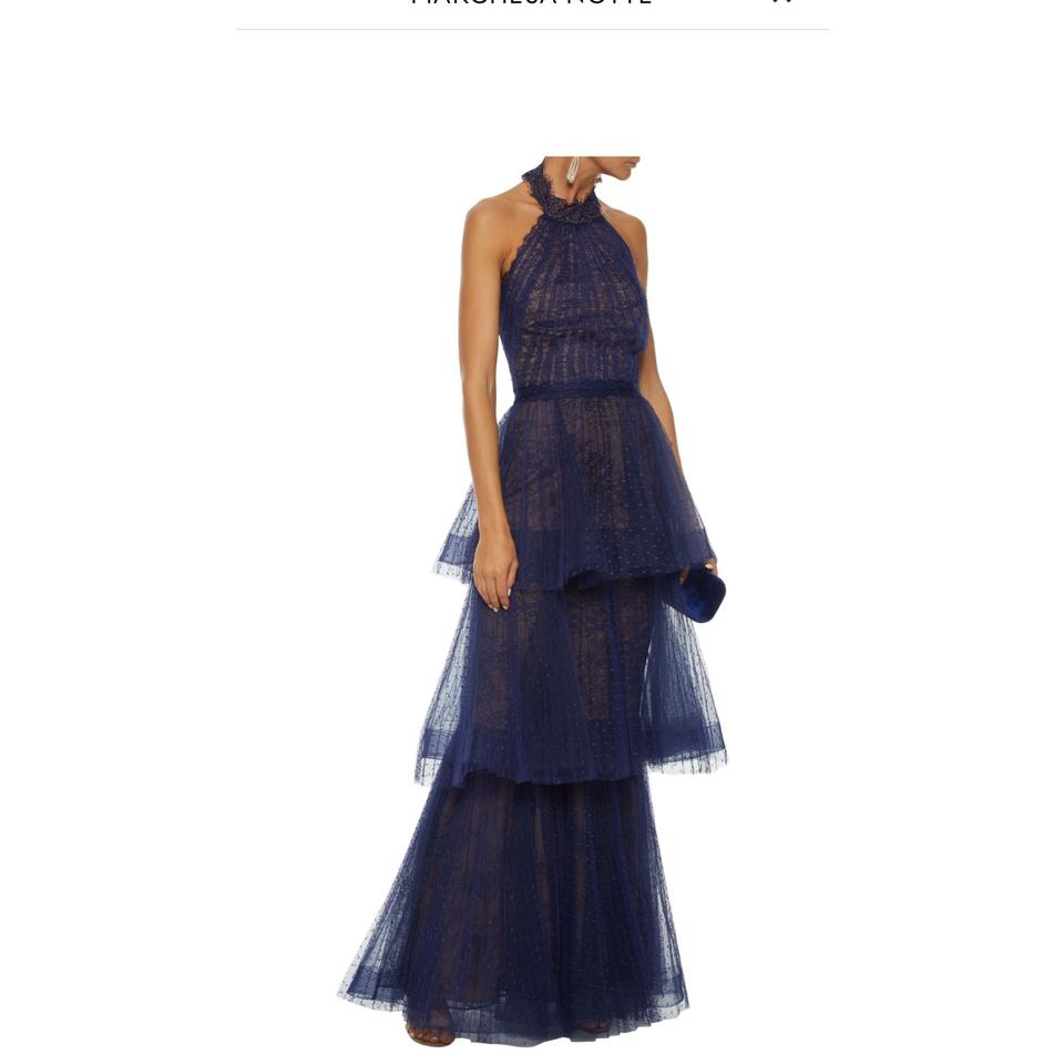 Marchesa Notte Navy Tiered Point Desprit Lace Halterneck Gown Long Formal Dress Size 2 Xs 72 Off Retail