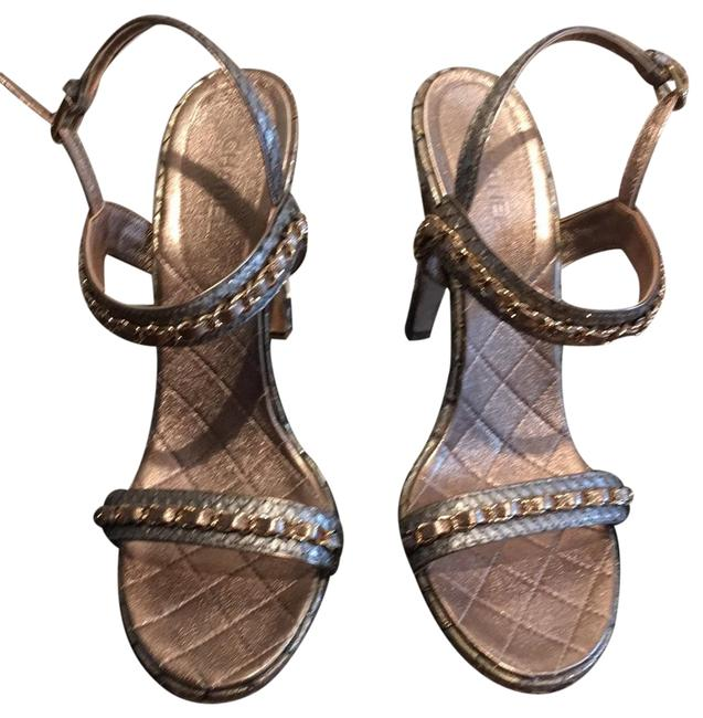 Item - Silver and Gold Chaim Link Sandals Size EU 40 (Approx. US 10) Regular (M, B)