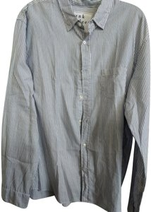 Frank & Eileen Button Down Shirt Blue white stripe