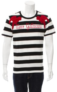 ef425f7d2e7 Gucci T Shirt Black   White Stripes with red detail Embroidered