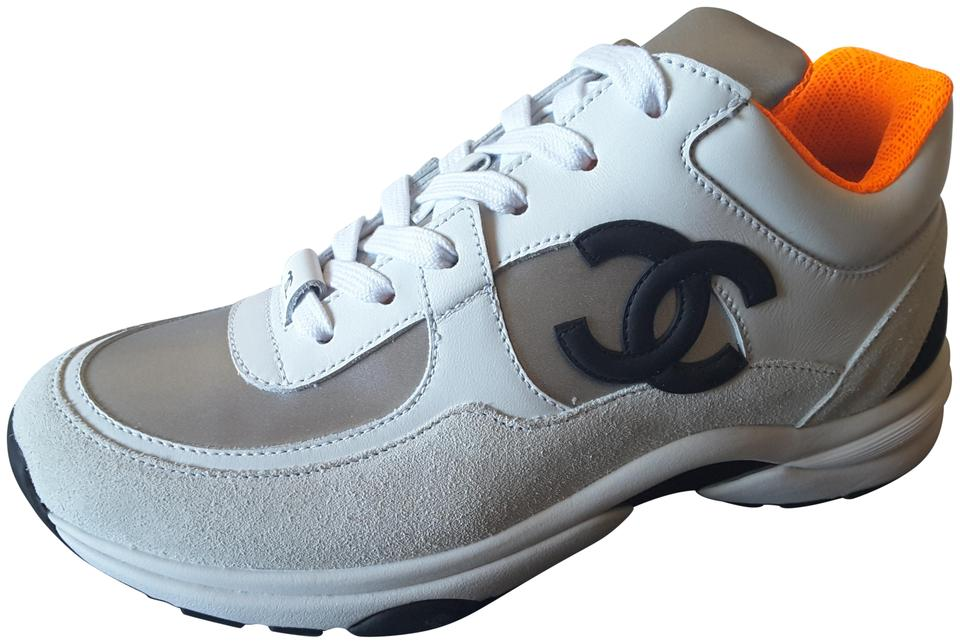 2d8a86937bbf Chanel White Silver Orange Trainers Leather Sneakers Sneakers Size ...