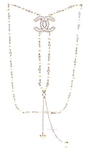 Chanel CC Quilted resin inlay pearls gold strand necklace long
