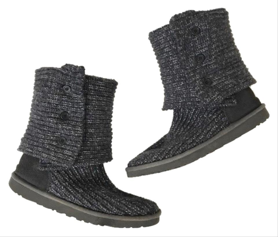 ff0acfd811a UGG Australia Grey/Silver Knit Classic Cardy Boots/Booties Size US 9  Regular (M, B)