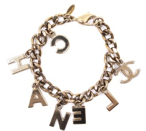 Chanel RARE CC gold logo spelled out chain bracelet