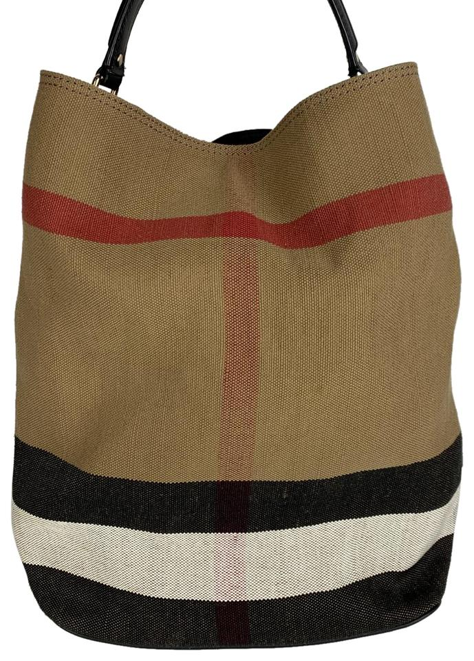 Burberry Tote Medium Ashby Check Print Brown and Black Canvas Leather Shoulder Bag 37% off retail