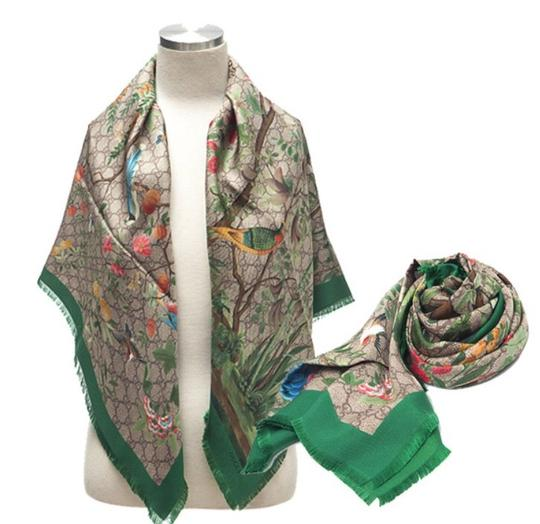3a657c56044 Gucci Multi-color  426974 Silk Tian Shawl Scarf Scarf Wrap - Tradesy