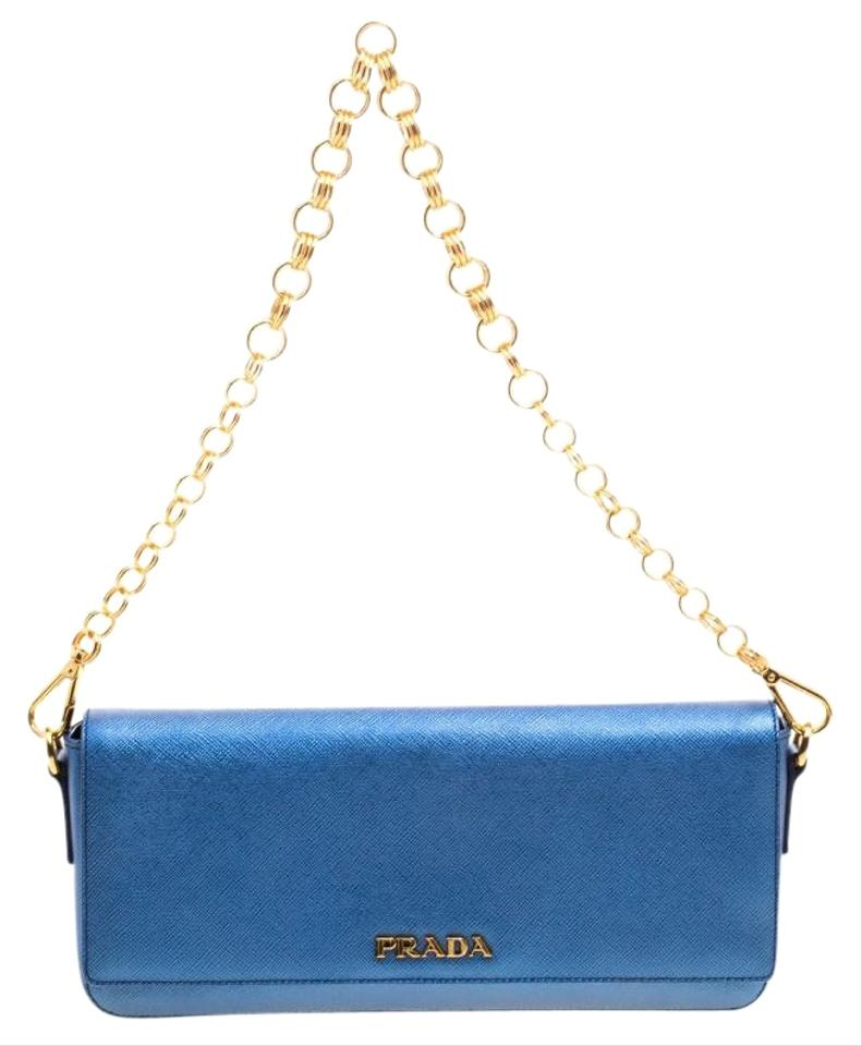 2bbb977cb285 Prada Lux Metallic Saffiano Chain Blue Leather Shoulder Bag - Tradesy