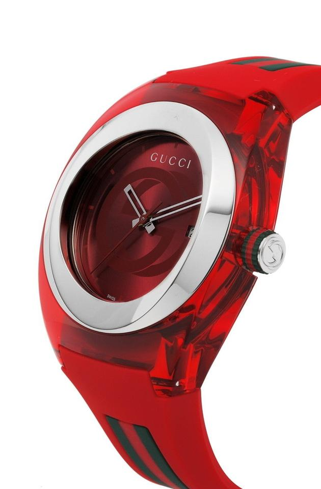 1d0bbc77774 Gucci Gucci YA137103 Sync XXL Red Rubber Red Dial Unisex Watch Image 4.  12345