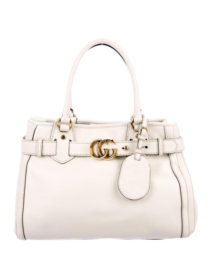 9b2f64d7546 Gucci Gg Running Medium White Leather Tote - Tradesy