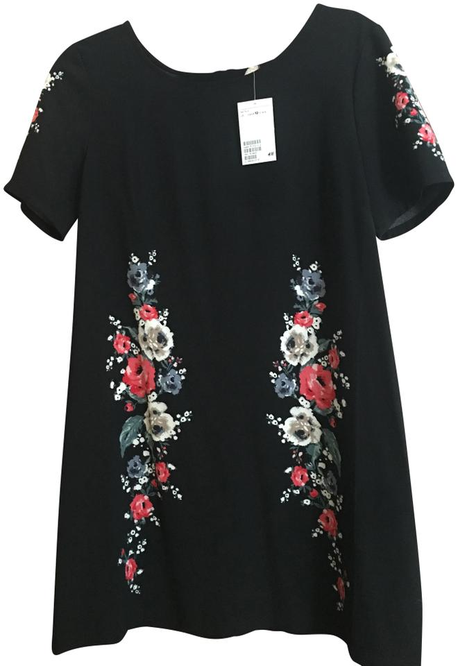 e1a3665d306e7 Divided by H&M Black And Floral Mid-length Work/Office Dress Size 10 ...