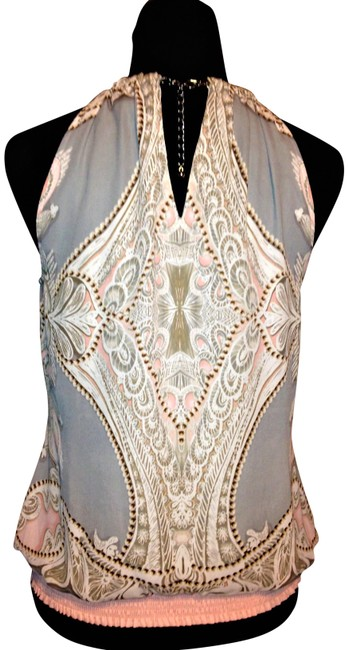 Item - Pink Grey White Chain Night Halter Top Size 6 (S)