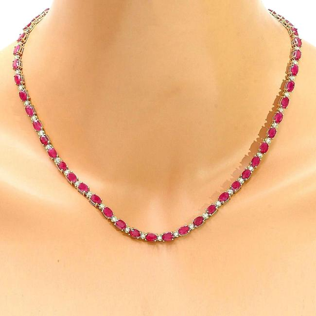 Item - Red 30.75 Carat Natural Ruby 14k Solid Yellow Gold Diamond Necklace