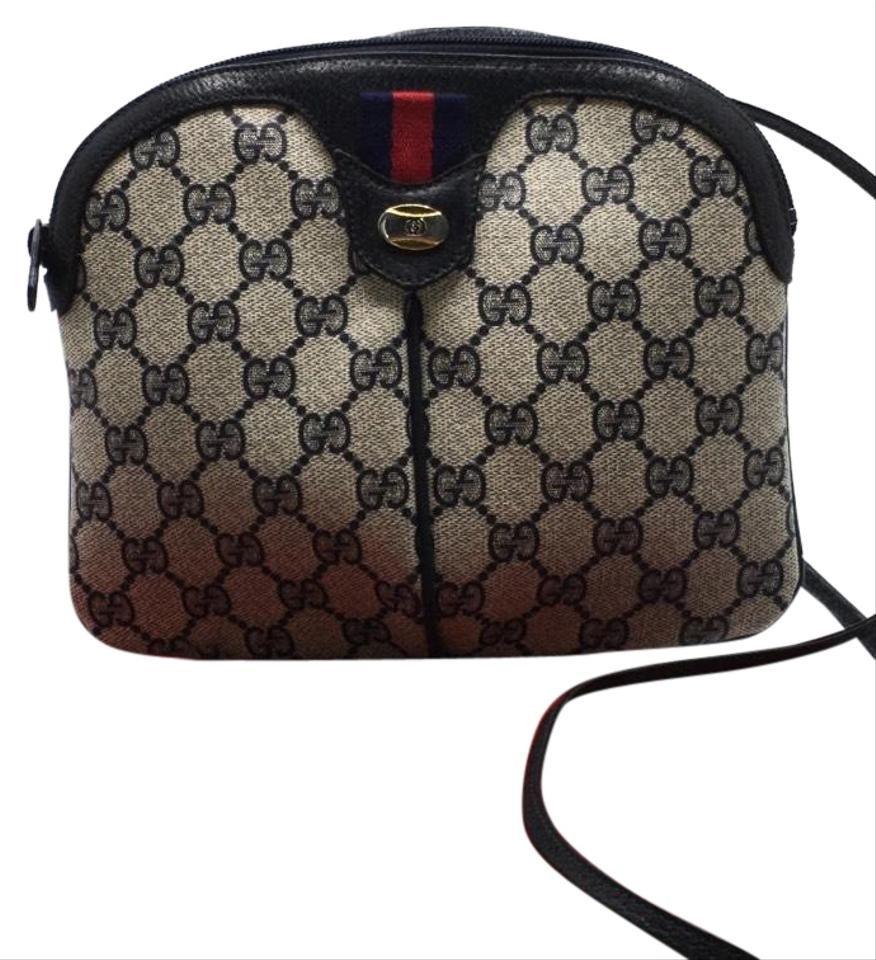 a2a64e6b9 Gucci Gg Monogram Coated Canvas Vintage with Red and Web Stripes Blue Cross  Body Bag