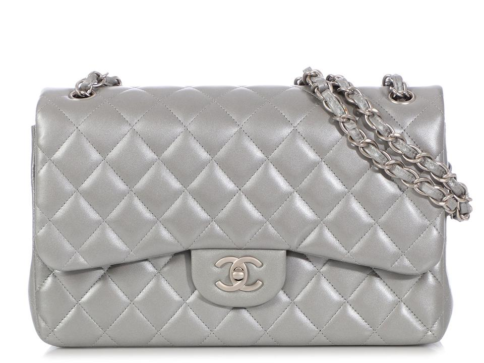 eed641faa75c Chanel Classic Double Flap Jumbo Quilted Silver Lambskin Leather Shoulder  Bag