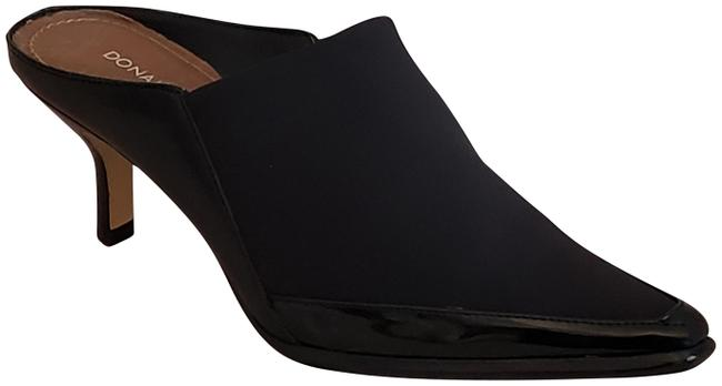 Item - Luxe Stretch Fabric Leather Trim Vero Cuoio Sole Stacked Heel Black Mules/Slides Size US 6 Regular (M, B)