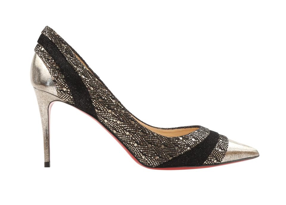 hot sale online f261c b4848 Christian Louboutin Black Eklectica 85 Leather and Fabric Pumps Size EU  39.5 (Approx. US 9.5) Regular (M, B)