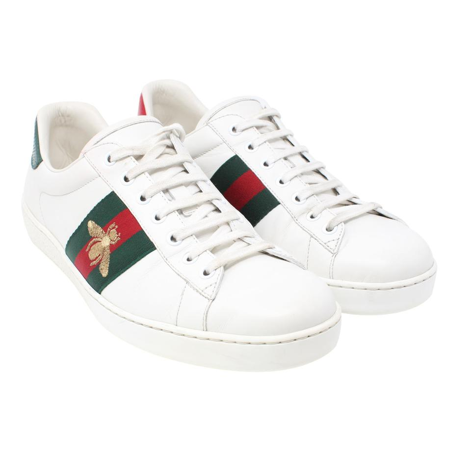 588f24adf9e Gucci White Calfskin Leather Ace-embroidered Bee Low Top Tennis Sneakers