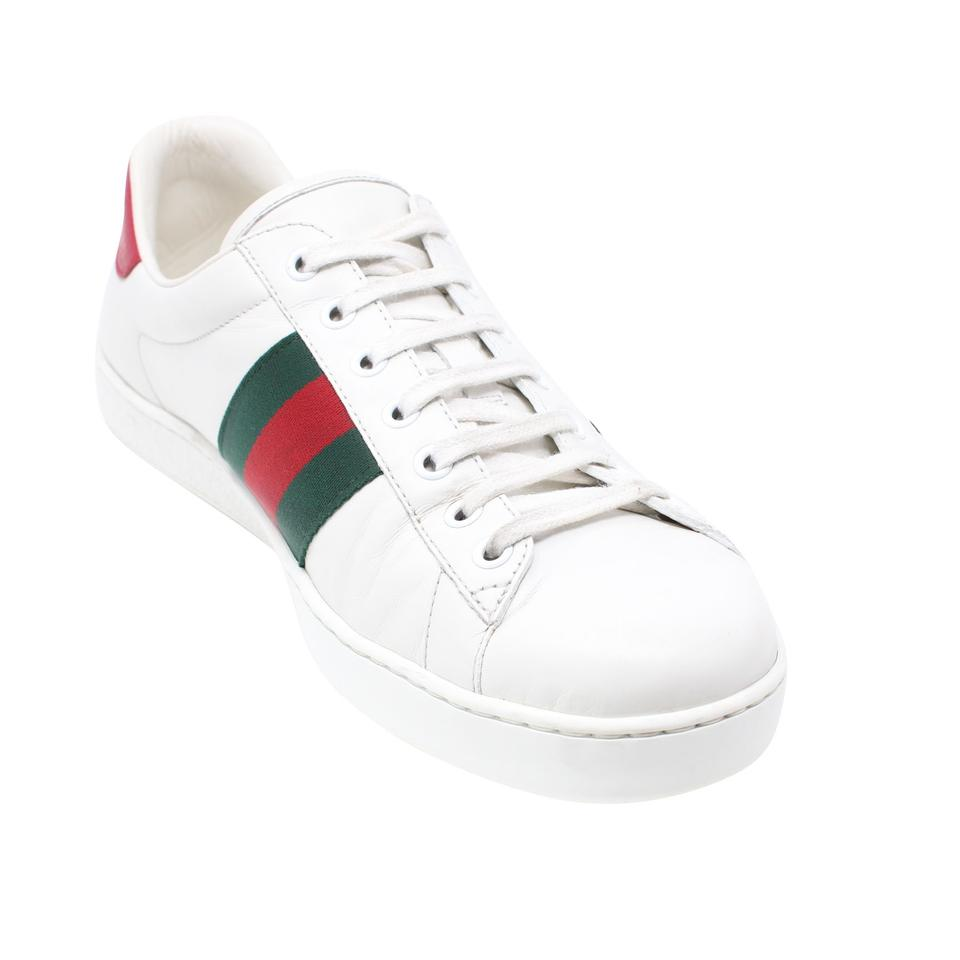 435175f48 Gucci White Calfskin Leather Ace-embroidered Bee Low Top Tennis Sneakers.  Size: US 10 ...