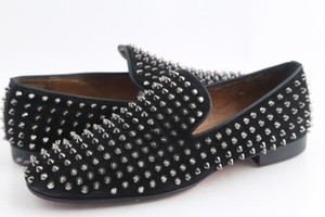 Christian Louboutin Black Rollerboy Spikes Suede Flat Loafer Shoes