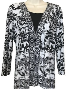 f7479a15725b JM Collection Floral 3/4 Sleeve Split Stretchy Top Black & White
