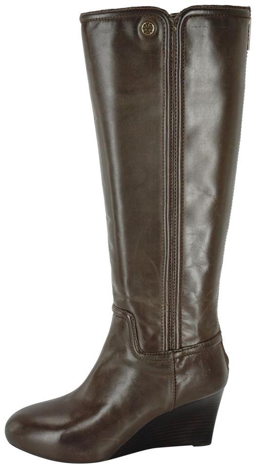 bc13f05cdbbd Tory Burch Brown Irene Tall Black Leather Wedge Riding Boots/Booties ...