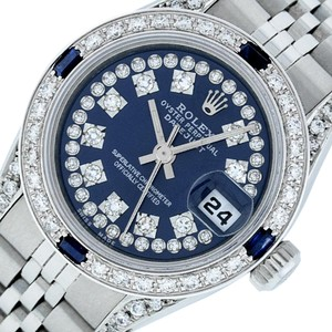 Rolex Ladies Datejust Ss/White Gold with Blue String Diamond Dial Watch