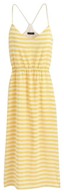 Item - Ivory Yellow Carrie In Stripe Silk F2600 Mid-length Short Casual Dress Size 4 (S)
