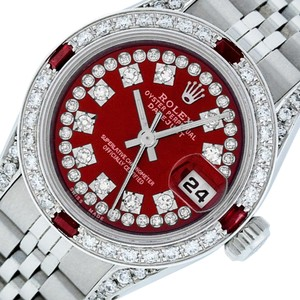 Rolex Ladies Datejust Ss/White Gold with Red String Diamond Dial Watch