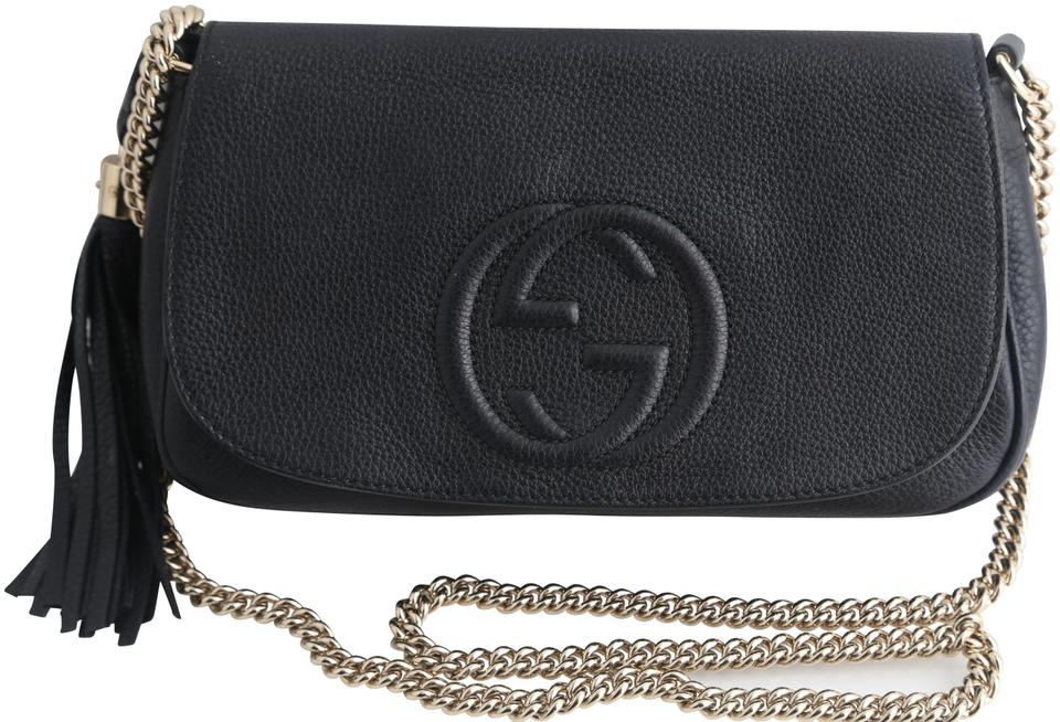7e83b52dc02061 Gucci Soho Medium Chain Strap Black Leather Cross Body Bag - Tradesy