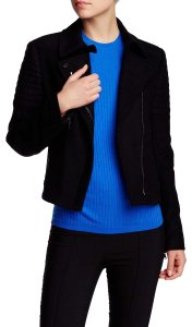 Vince Wool Quilted Biker Moto Asymmetric Motorcycle Jacket