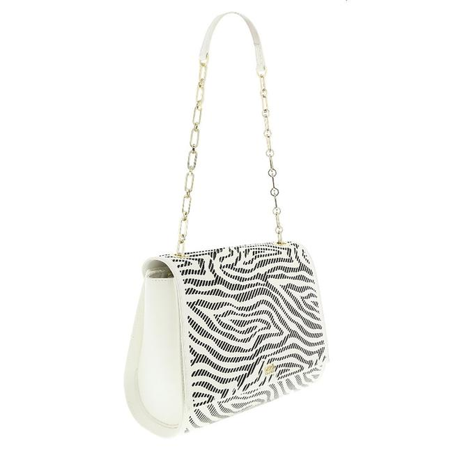 Item - Class White/Black Medium White/Black Calf Leather and Faux Leather Shoulder Bag