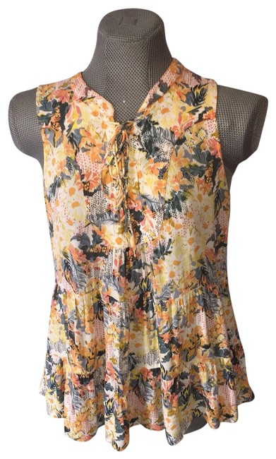 Preload https://img-static.tradesy.com/item/25139006/anthropologie-yellow-and-green-anthro-blouse-size-6-s-0-1-650-650.jpg