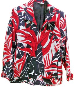 Susan Graver Zippered Jacket Black Red White Cardigan
