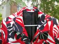 Susan Graver Zippered Jacket Black Red White Cardigan Image 1