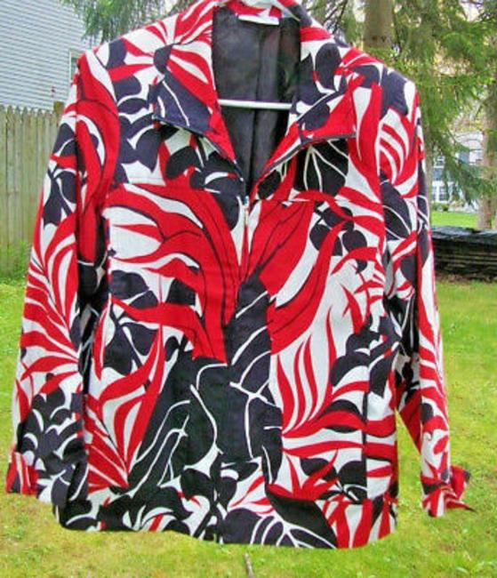 Susan Graver Zippered Jacket Black Red White Cardigan Image 2