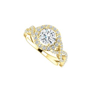 Marco B True Love CZ Cross Over Halo Ring in 14K Yellow Gold
