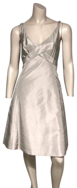 Item - Silver Silk Mid-length Cocktail Dress Size 8 (M)