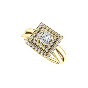 Marco B Square Cubic Zirconia Double Halo Style Ring in Gold