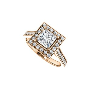 Marco B CZ Accented 14K Rose Gold Square Halo Engagement Ring