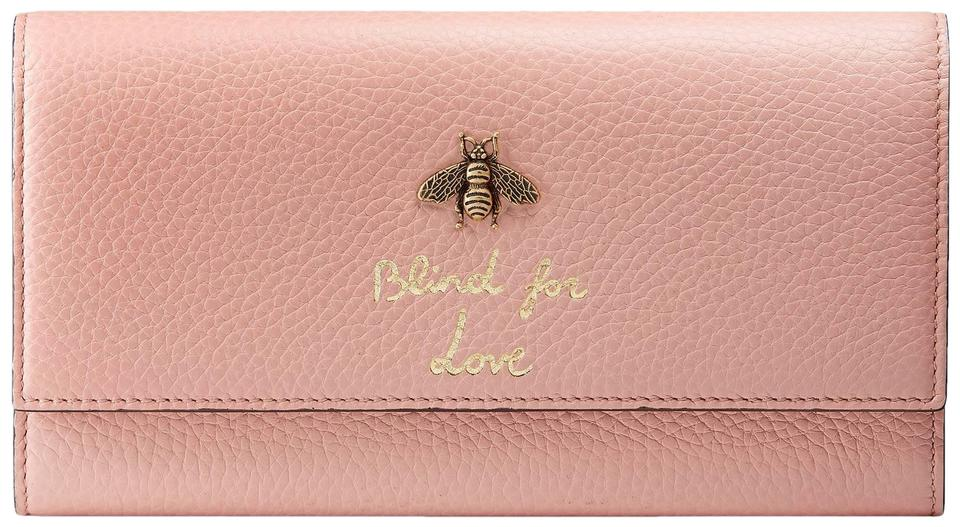 980e1d1c293e Gucci New Gucci Continental Animalier Bee Pink Wallet Image 0 ...