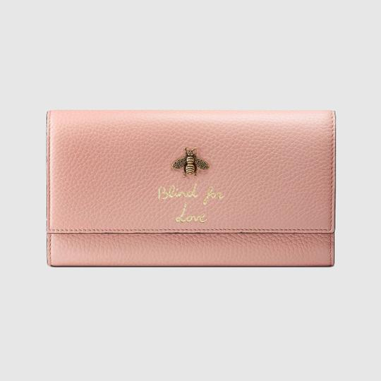 Gucci New Gucci Continental Animalier Bee Pink Wallet Image 3